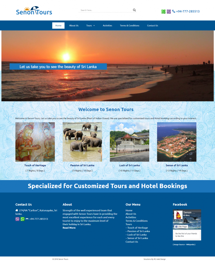 Shenon Tours Website