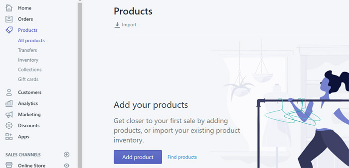 add shopify products