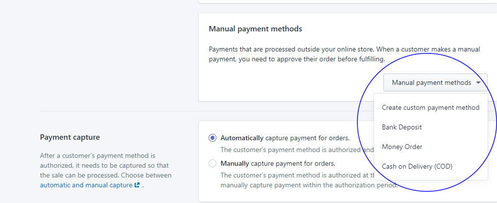 how to choose a manual payment gateway in shopify